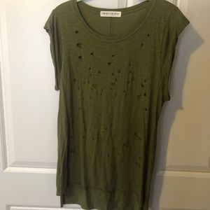 Olive green distressed muscle tee